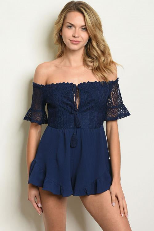 Off The Shoulder Navy Lace Romper - RMC Boutique