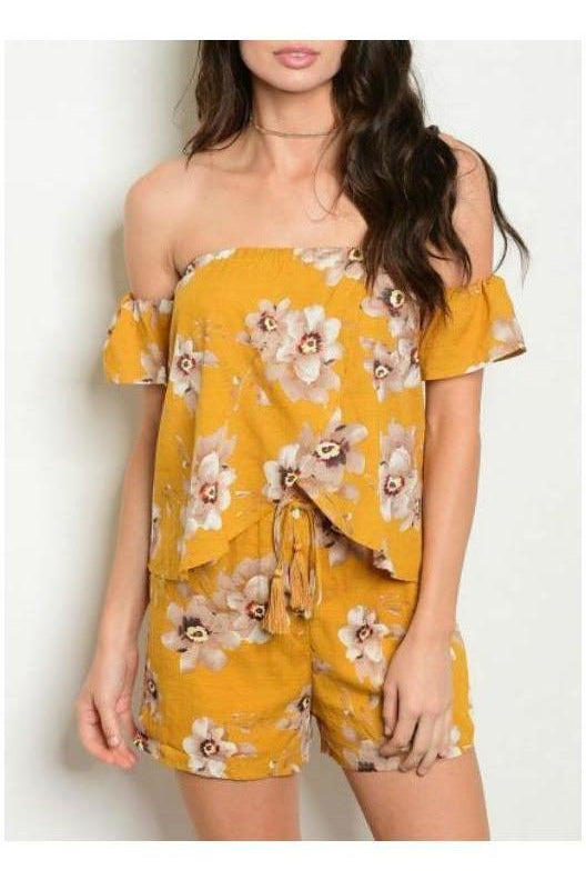 Off Shoulder Freshly Floral Two Piece Set, Mustard
