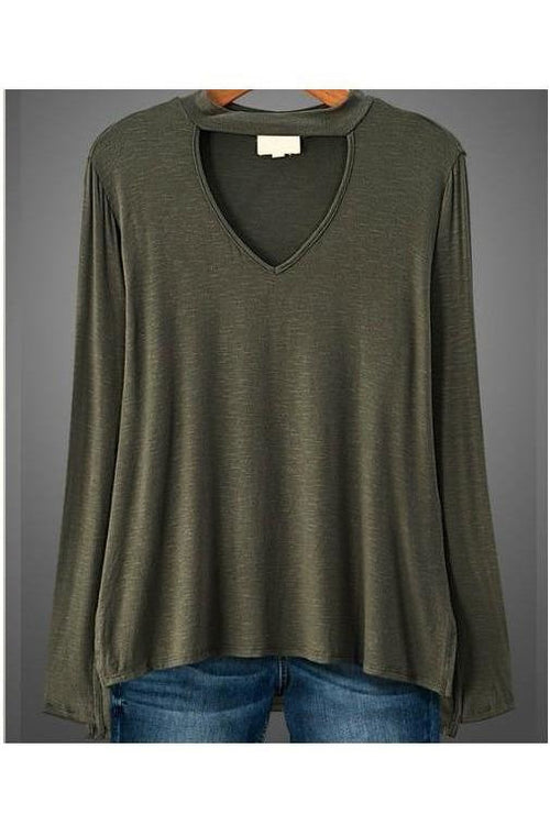 Off The Runway, Mock Neck V Style Tunic Top, Olive, Plus - RMC Boutique