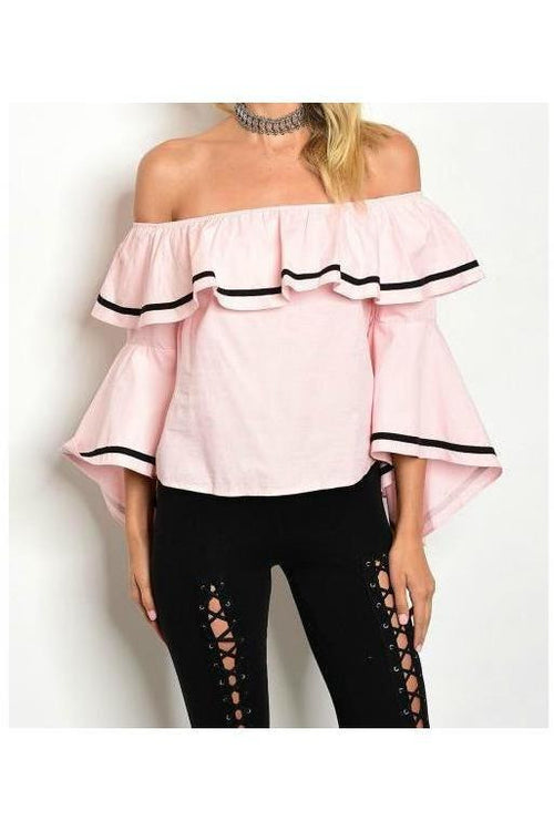 "Pretty In ""Vintage"" Pink, Off Shoulder Top"