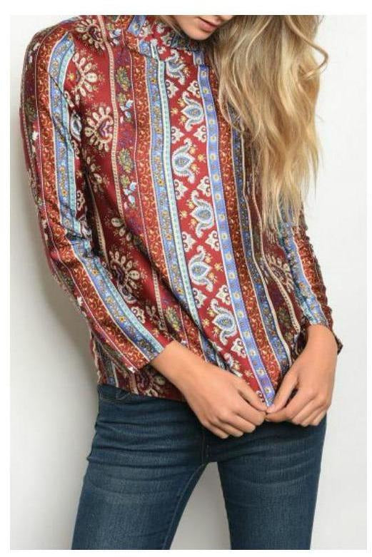 Open Back Paisley Top, Rust