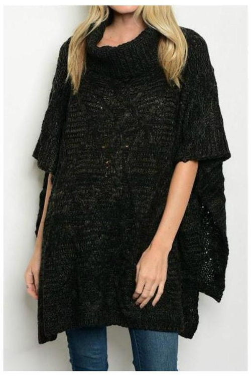 Over-sized Cowl Neck Poncho, Black