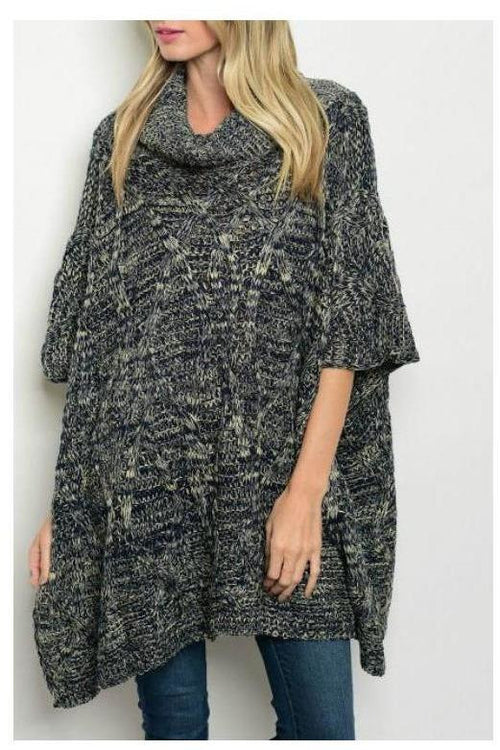 Over-sized Cowl Neck Poncho, Navy