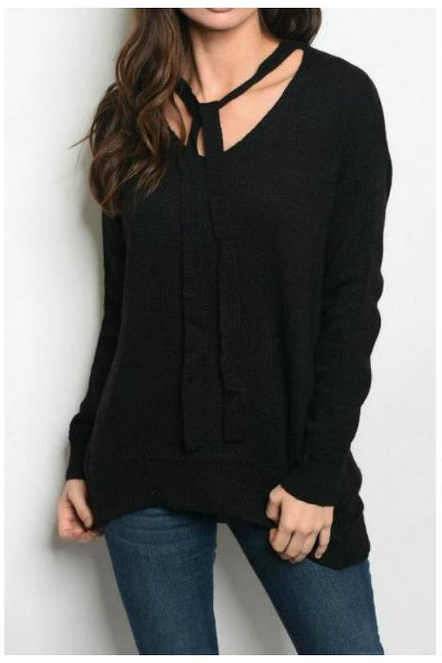 Over-sized Sweater With Neck Bowtie, Black
