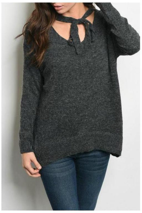 Over-sized Sweater With Neck Bowtie, Gray