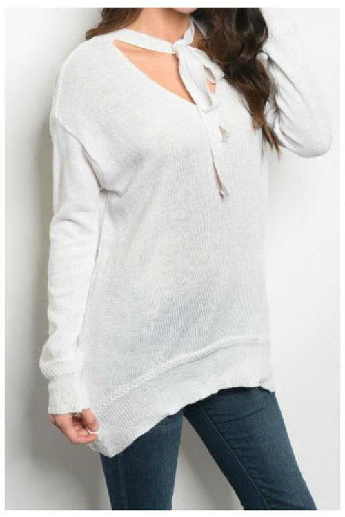 Over-sized Sweater With Neck Bowtie, Ivory
