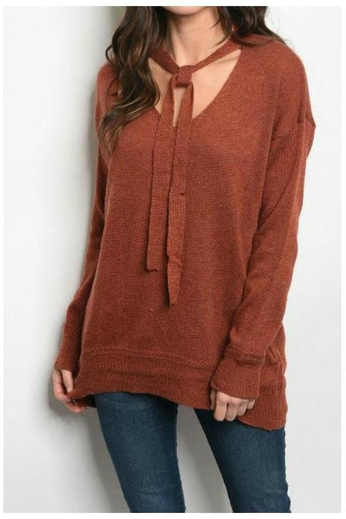 Over-sized Sweater With Neck Bowtie, Rust