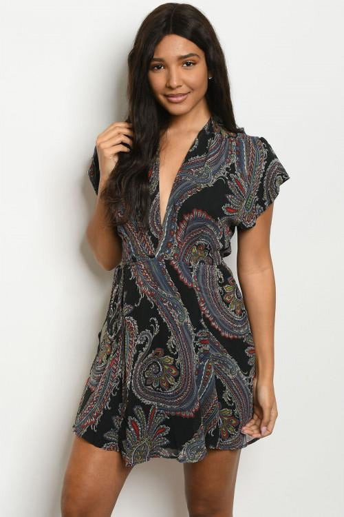Pretty in Paisley Black V Neck Wrap Dress
