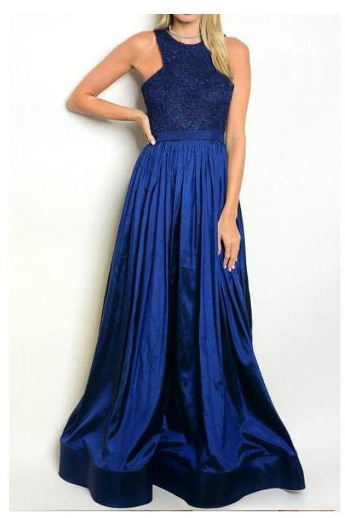 Regal and Royal Navy Blue Formal Maxi Dress