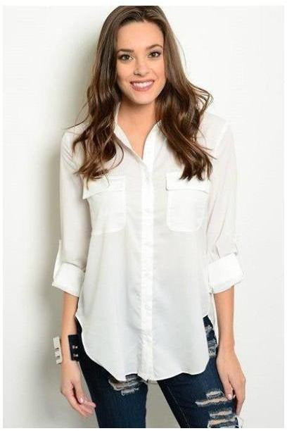 Relaxed Fit Button Up Top IVORY - RMC Boutique