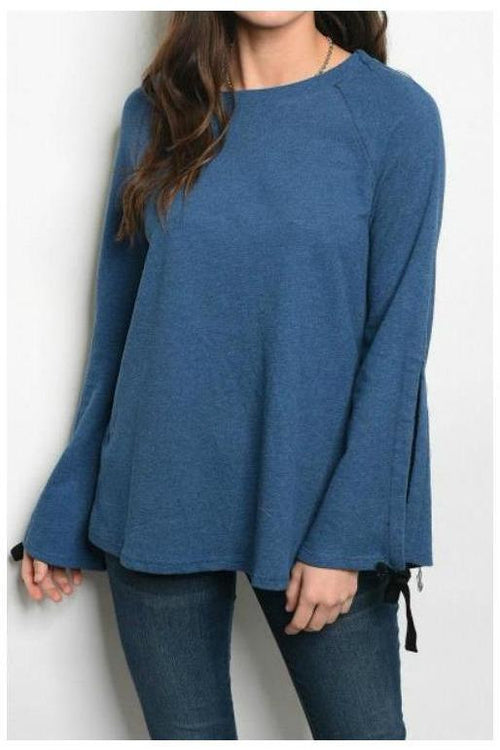Bell Sleeve Relaxed Fit Sweater, Teal
