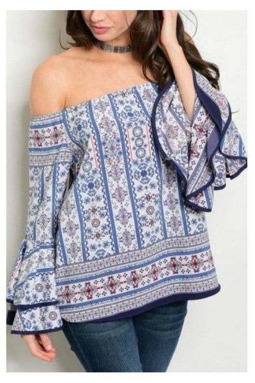 Resort Style Off Shoulder Bell Sleeve Top - RMC Boutique