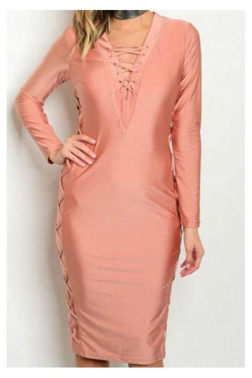 Rose Gold Bodycon Lace Detail Dress - RMC Boutique  - 2
