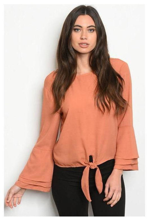 Mauve Solid Bell Sleeve Tie Front Top