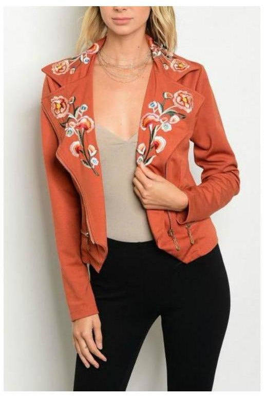 Rust Embroidered Moto Jacket