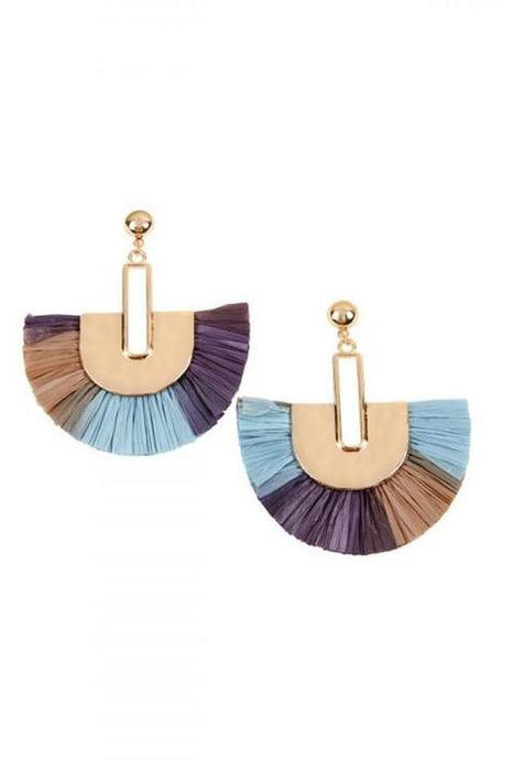 BLUE MULTITONE DANGLING FAN SHAPE EARRINGS
