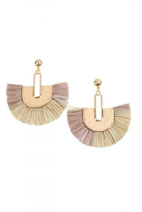 GRAY MULTITONE DANGLING FAN SHAPE EARRINGS