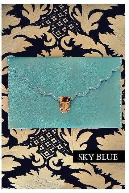 Sky Blue Scallop Trim Monogram Clutch