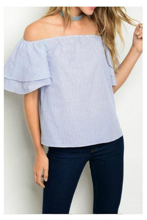 Seaport Sweetie Blue and White Ruffle Sleeve Top
