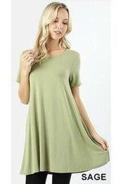Short Sleeve Round Neck Tunic Dress With Pockets
