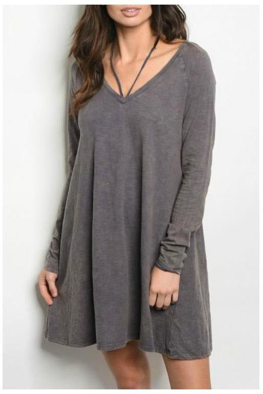 Skater Style Acid Wash Long Sleeve Dress, Charcoal