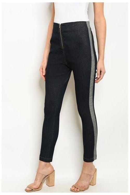 Skinny Mini Side Stripe Zip Up Pants