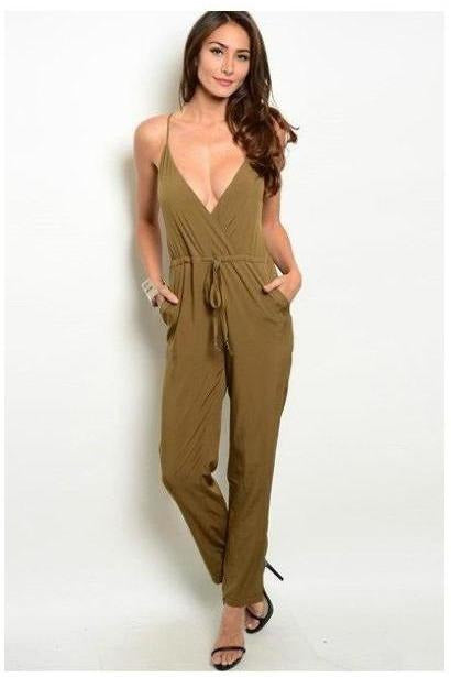 Sleeveless Olive Drawstring Jumpsuit - RMC Boutique