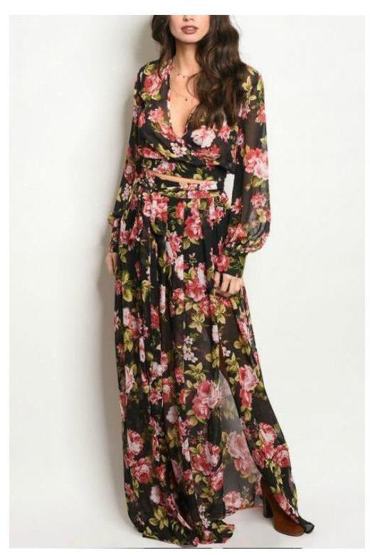 Smell The Rose Buds, Maxi Two Piece Set