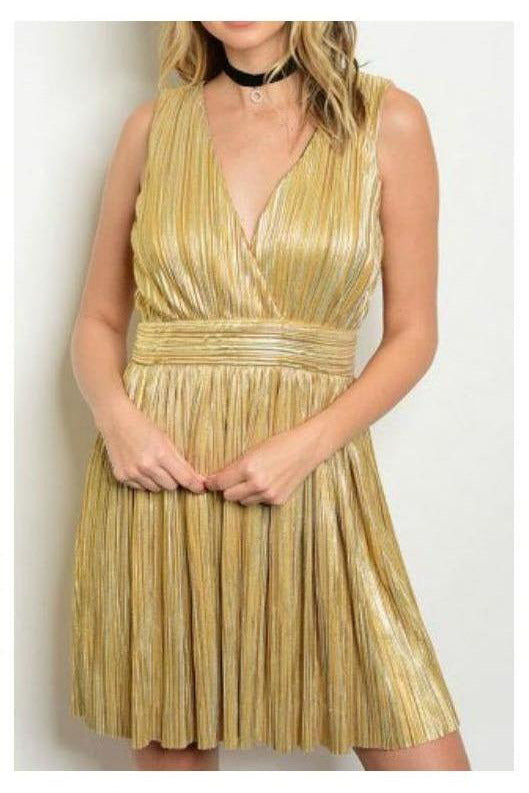 Sofia's Golden Shimmer Dress - RMC Boutique  - 1