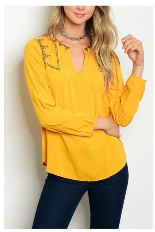 Somewhere Sunny, Mustard Embroidered Tunic Top