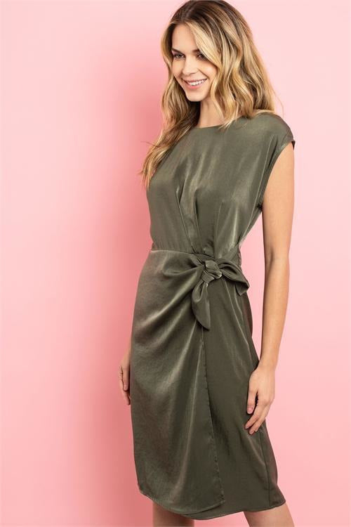 Special Occasion Wrap Dress, Olive - RMC Boutique