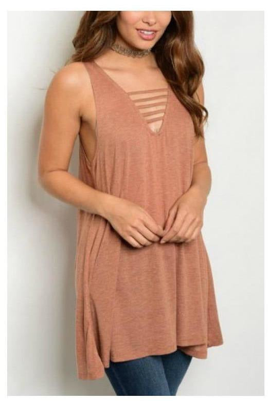 Stay Strapped Sleeveless Tunic Tank, Rust