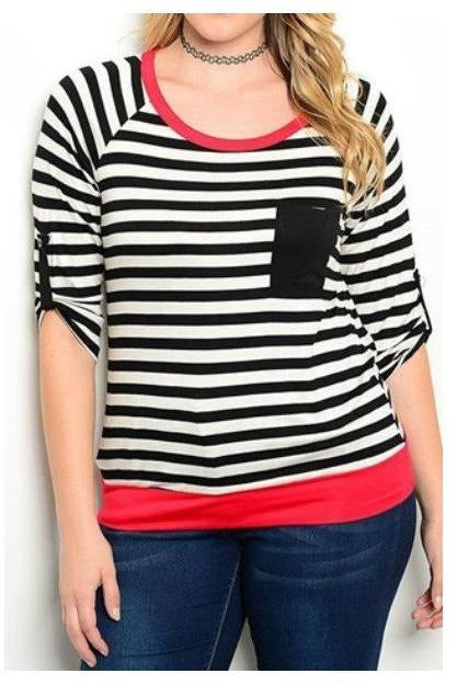 Striped Plus Size Tee - RMC Boutique