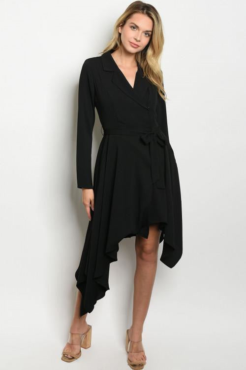 City Slick Wrap Black Dress