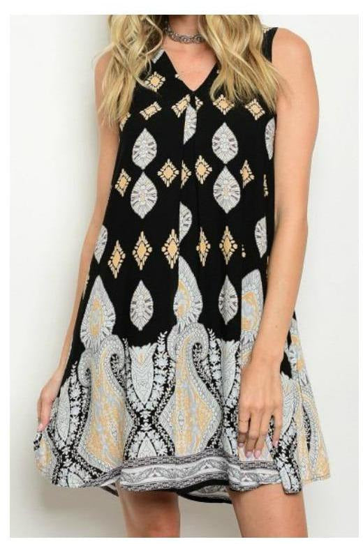 Subtle Perfection Black White and Gold Shift Dress