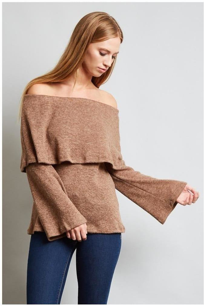 Always Off The Shoulder, Knit Sweater, Mocha - RMC Boutique  - 1