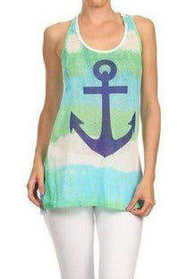 Ombre' Nautical Anchor Top - Green/Aqua - RMC Boutique  - 1