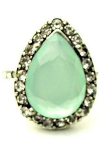 Tear Drop Mint Cocktail Ring - RMC Boutique