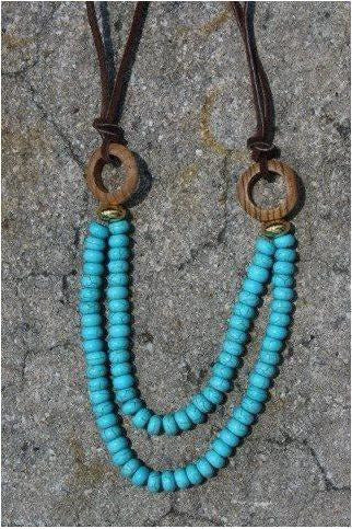 "J.Seeney: ""Turquoise Leather"" adjustable necklace - RMC Boutique"