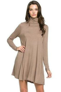 Turtle-Neck Pocket Swing Dress Taupe - RMC Boutique