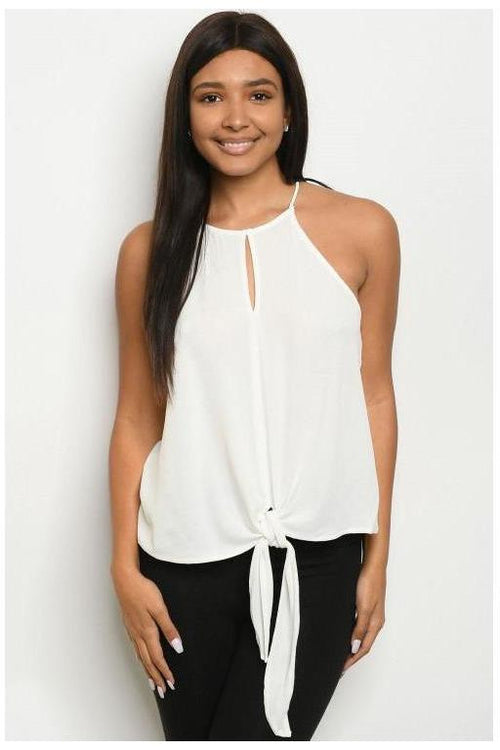 Closet Essential Front Tie Off White Sleeveless Top