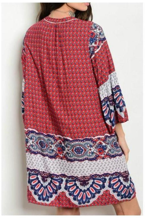 West Indies Paisley Print Tunic Dress, Wine