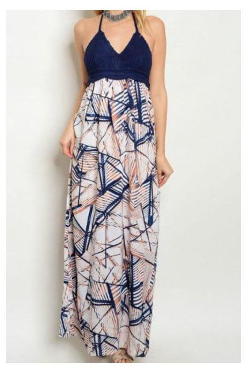 Where The Wind Blows, Abstract Design Maxi Dress