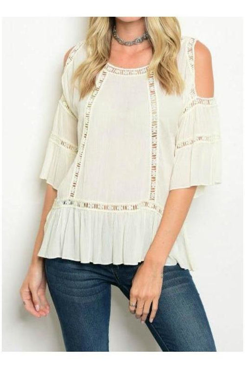 White Eyelet Cold Shoulder Top