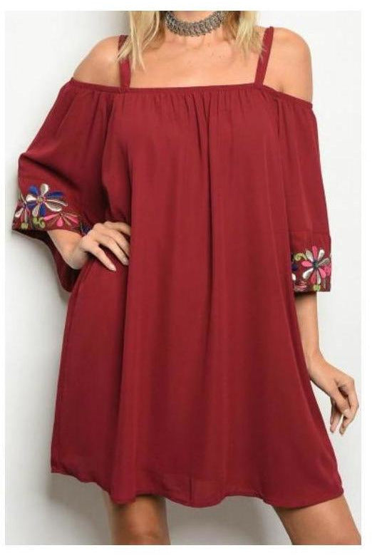 Wine Cold Shoulder Embroidered Bell Sleeve Dress