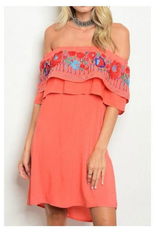 You Make Me Smile, Embroidered Off Shoulder Dress