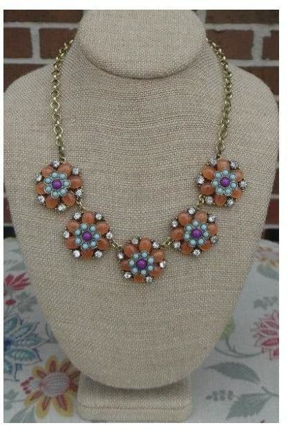 Blooming Beauty Statement Necklace- ( Peach) - RMC Boutique