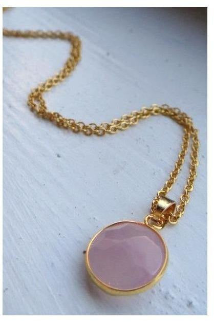 Candy Drop Stone Necklace - PALE PINK - RMC Boutique