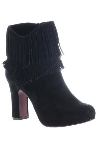 Poetic License: Boho Fantasy  Fringe Ankle Boot , in black - RMC Boutique