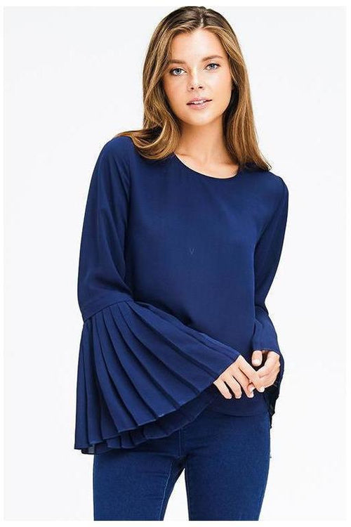 Pleated Bell Sleeve Top, Navy